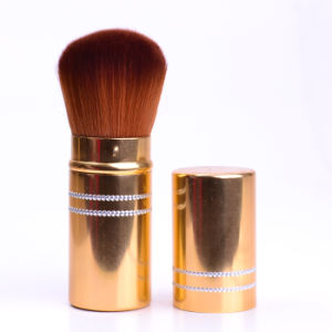 Hot Selling Fashion Premium Quality with Synthetic Hair Golden Aluminium Tube Private Label Retractable Face Cosmetics Makeup Brush pictures & photos