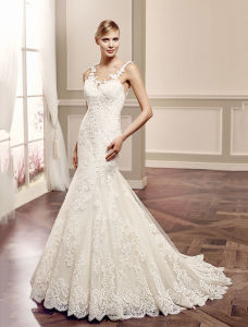 Luxury Lace Mermaid Bridal Gown Sleeveless Wedding Dress pictures & photos