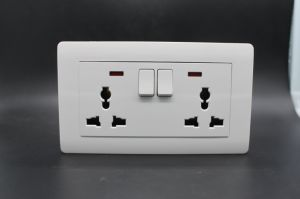 2 Gang Wall Socket and Switch International Style Silver pictures & photos