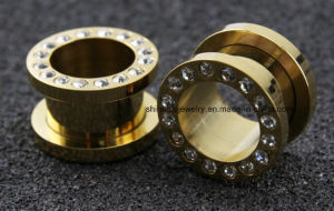 Body Piercing Jewelry Steel Gold Flesh Tunnel Plug pictures & photos