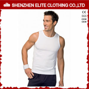 Men′s Funny Plain Blank White Cotton Spandex Singlets (ELTMBJ-285) pictures & photos