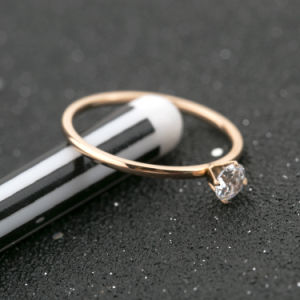 Top Popular Jewelry Fashion Rose Gold Women Diamond Ring pictures & photos