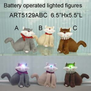 Christmas Decoration Furry Cat with Happy Lighted Eyes-3asst pictures & photos