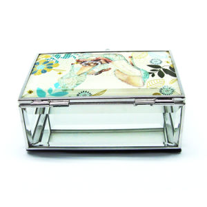 Chinese New Glass Custom Velvet Ring Jewelry Box (Hx-7097) pictures & photos