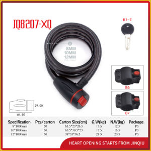 Jq8207-Xq Black Color Spiral Cable Lock Bicycle Lock pictures & photos