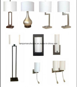 UL cUL Ce RoHS Brushed Nickle Rocket Switch USB Power Outlet Hotel Lighting with White Linen Lamp Shade pictures & photos