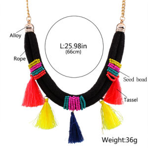 Fashion Bohemia Beads Braided Colorful Tassel Choker Statement Necklace Jewelry pictures & photos