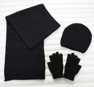 Promotional Acrylic Knitted Hat Glove Scarf Winter Warm Set (YKY4624-2) pictures & photos