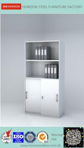Steel High Storage Cabinet Office Furniture with Double Sliding Steel Framed Glass Doors and Replaceable Cam Lock/File Cabinet pictures & photos