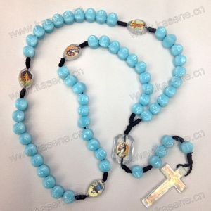 Blue Plastic Beads Cord Rosary, Wooden Beads Rosary, Cross Religious Necklace pictures & photos