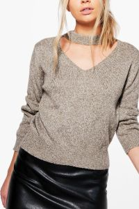 Khaki Melange Ladies V Neck Ribbed Sweater pictures & photos