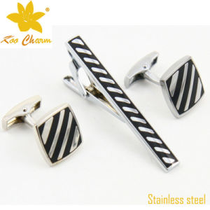 Tieclip-018 Stainless Steel Cufflinks and Tie Clip Set