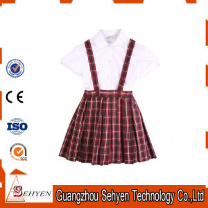 Wholesale White Cotton Shirt and Scottish Skirt School Uniform pictures & photos