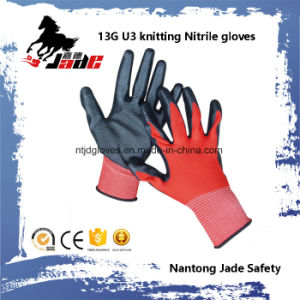 13G U3 Knitting Palm Black Nitrile Smooth Coated Glove pictures & photos