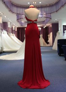 Sheath/Column Halter Wedding Evening Dress with Beading Waist pictures & photos