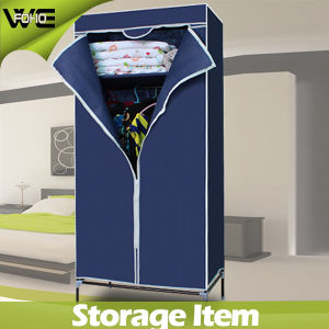 Fabric Folding Cabinet Bedroom Wardrobe with Clothes Hanger Pole pictures & photos