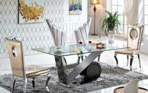 Luxury Home Furniture Stainless Steel Type Glass Dining Table (A8066) pictures & photos