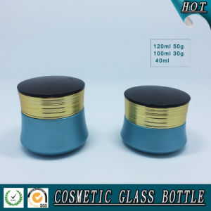 blue Colored Cosmetic Glass Lotion Pump Bottle and Cosmetic Luxury Jar pictures & photos