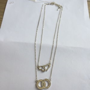 Simple Double Metal Necklace with Heart-Shaped & Round Pendant pictures & photos