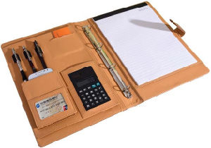 A4 Size PU Leather Office Portfolio with Metal Clips pictures & photos
