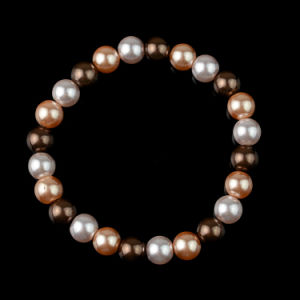 Faux Mother of Pearl Bead Spiral Wrap Rosary Bracelet