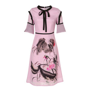 Chinese Ink Floral Printed Silk Women Pencil Dress pictures & photos