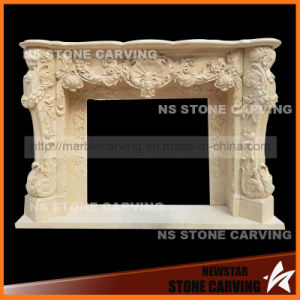 Beige Marble Fireplace Mantel pictures & photos