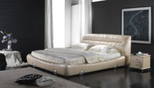 Luxury Bedroom Set Leather Soft Bed, Bedside Table (6072) pictures & photos