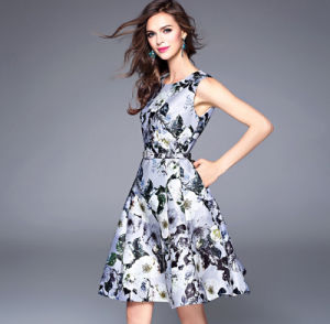 Fashion New Design Summer Round Neck Sleeveless Printed Slim Big Skirt Women′s Dress pictures & photos