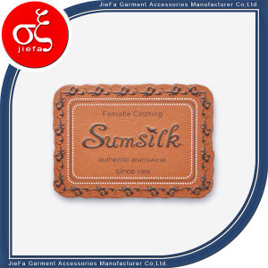 Custom PU Printing Logo Leather Label pictures & photos