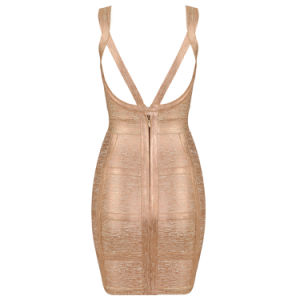 Luxury Slip Gold Stamping Bandage Dress pictures & photos