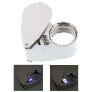 LED Light 40X25mm Jewelry Loupe Magnifier UV Money Checker
