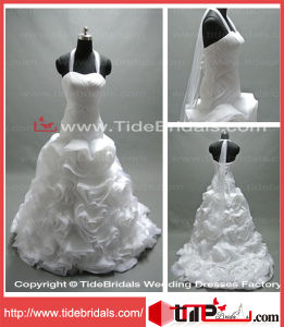 Elegant Halter Ball Gown Evening Organza Bridal Gowns Wedding Dress (LT2135)
