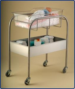 Hospital Stainless Steel Bassinet with Storage Bin (THR-B002) pictures & photos