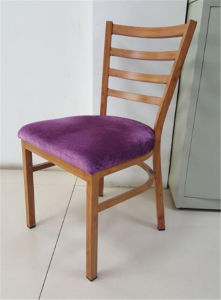 Fabric Upholstered Wood Finish Metal Chair (FOH-WRC2) pictures & photos