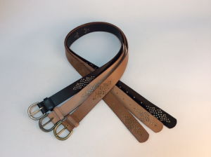 Round Tip Genuine Leather Belt with Studded Whole Strap