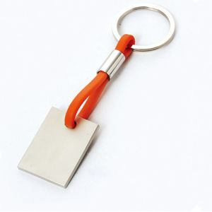 Promotional Key Holder Rectangle Metal Keychain with Silicone (F1019)