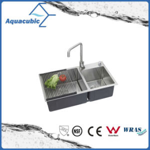 Man-Made Stainless Steel Small Double Kitchen Sink (ACS8243A2) pictures & photos