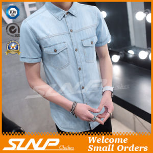 Indigo Color Short Sleeves 100% Cotton Men T Shirts Clothing
