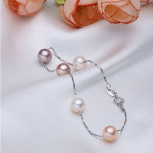 925sterling Silver Aaaa 7-8mm Round Freshwater Cultured Pearl Bracelet pictures & photos