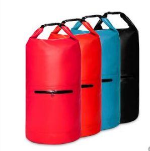 Outdoor PVC Waterproof Custom Logo Dry Bag with Exterior Zip Pocket