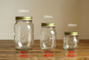 300ml 500ml 1000ml Carved Glass Preserve Jar for Honey, Food Bottles pictures & photos
