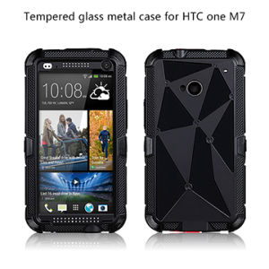 Tempered Glass Metal Case for HTC One M7
