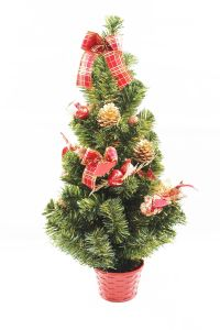 Decorated Tabletop Christmas Tree with Red Ornaments (60cm)