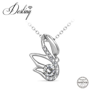 Destiny Jewellery Crystal From Swarovski Lucky Swan Pendant & Necklace