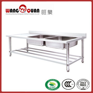 Custom Stainless Steel Sink Bench with Undershelf and 2 Left Compartment pictures & photos
