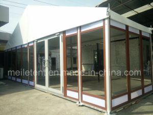 10X24m Aluminum Frame with Customized Wood Texture Glass Tent for Hotel Meeting pictures & photos