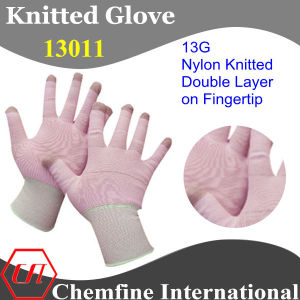 13G Pink Nylon Knitted Glove with Green Over Lock & Double Layer on Fingertip pictures & photos