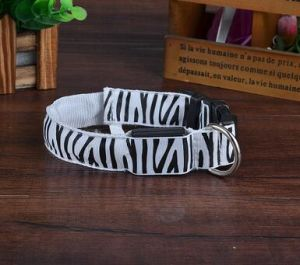 Adjustable Size Zebra Print Dog Collar with LED Light