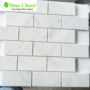 Best Sell Brick Shaped Nature Stone Marble Carrara White Mosaic Tile for Wall pictures & photos